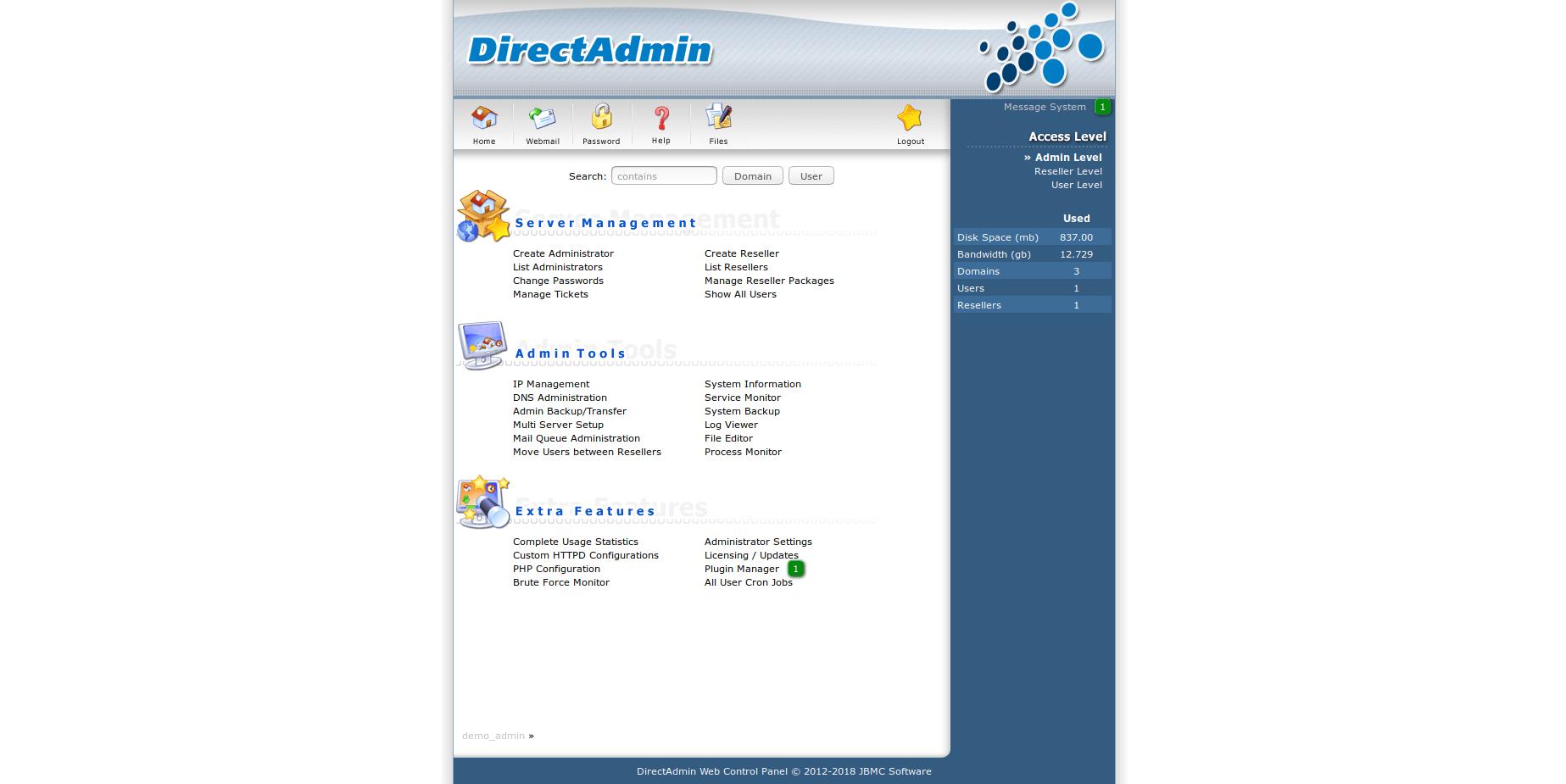 DirectAdmin admin view