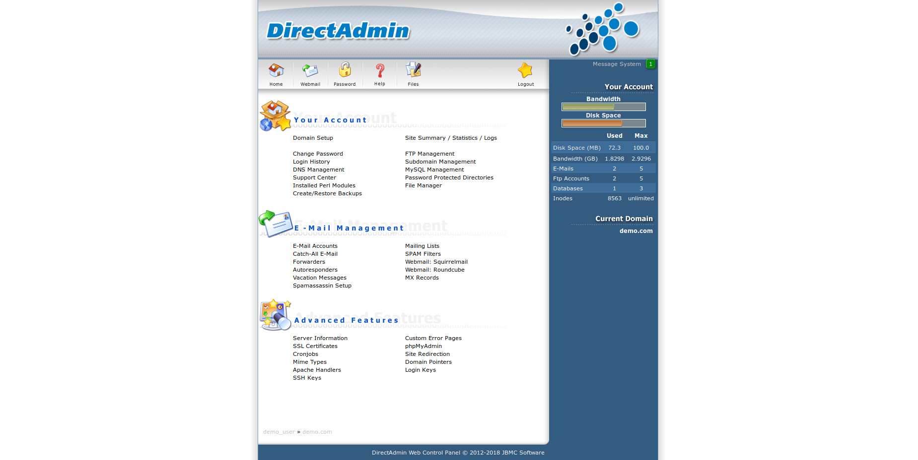 DirectAdmin websites view